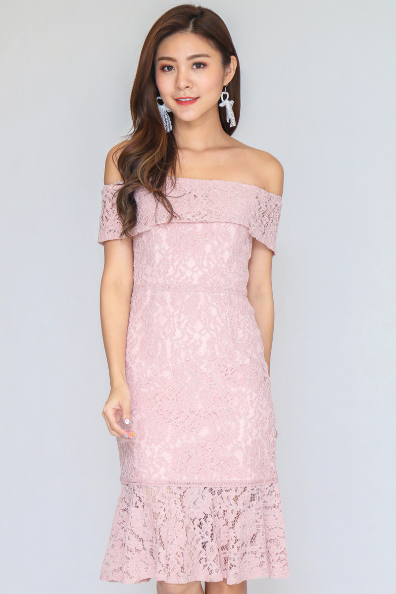 Romantic Lace Off Shoulder Dress In Nude Pink Size S
