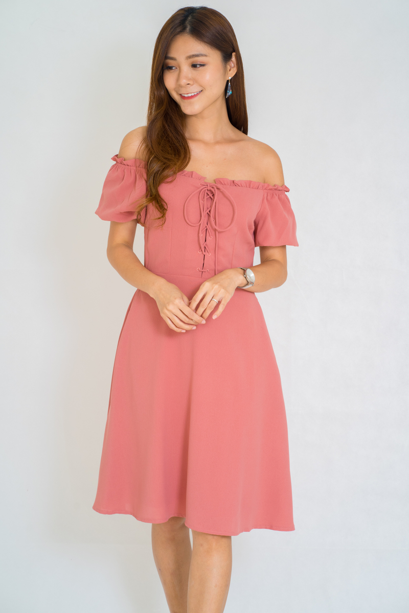 Andrea Lace Up Off Shoulder Dress In Coral